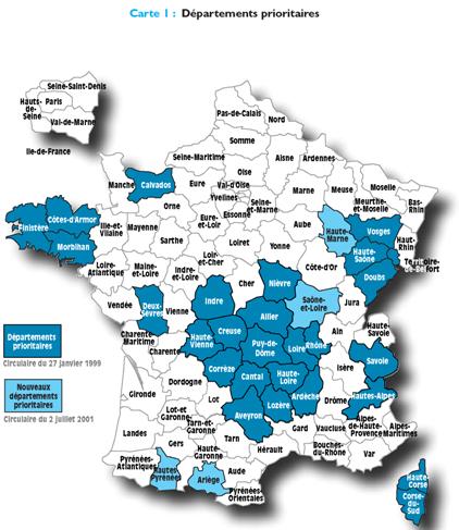 Départements concernés par le dépistage Radon