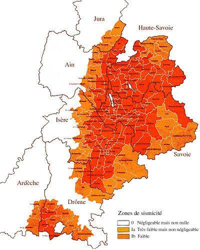 Carte de zonage sismique en Rhône-Alpes